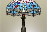 Blue Dragonfly Stained Glass Table Lamp
