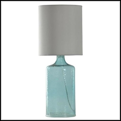 Blue Seeded Glass Table Lamp
