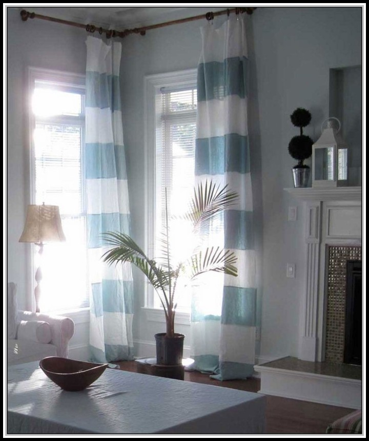 Blue Striped Curtain Panels