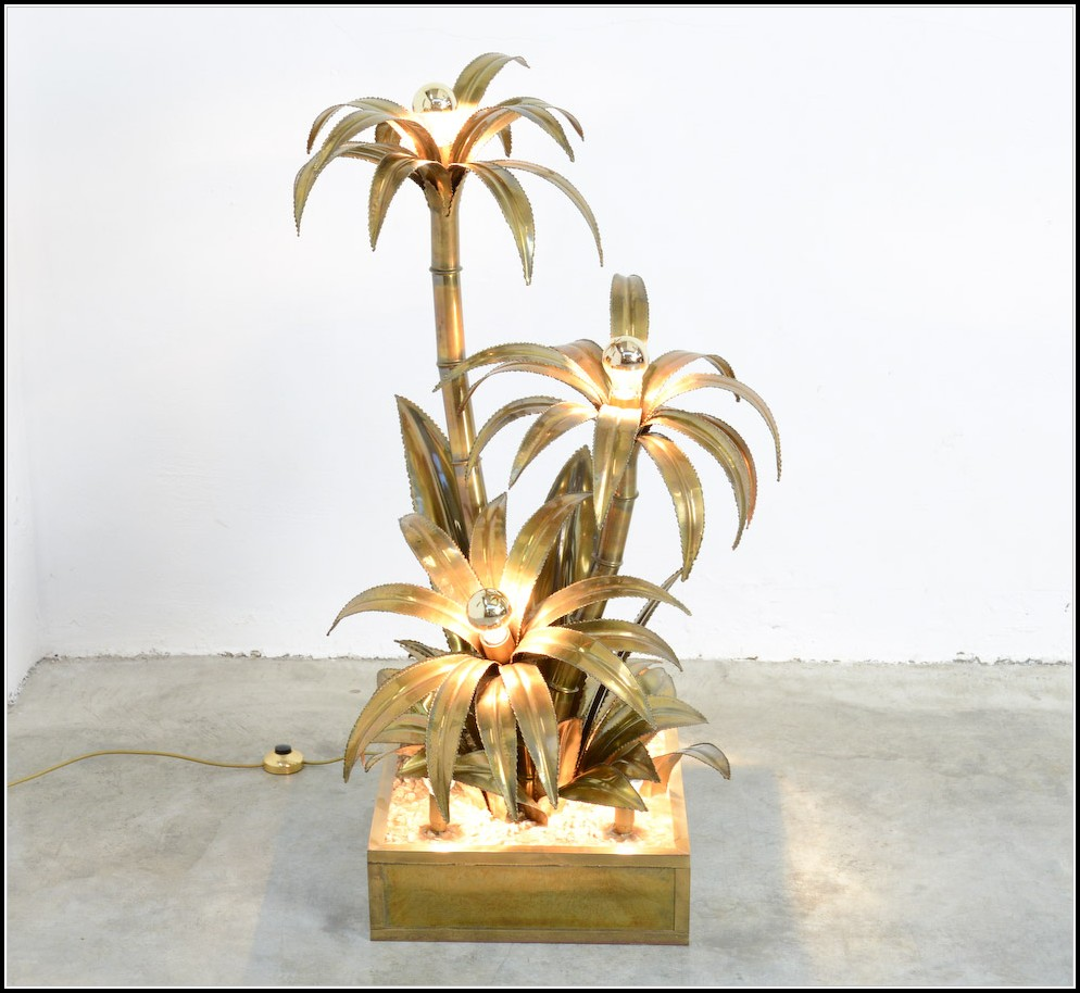 Brass Palm Tree Floor Lamp