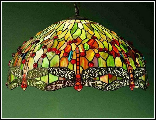 Dragonfly Stained Glass Hanging Lamp
