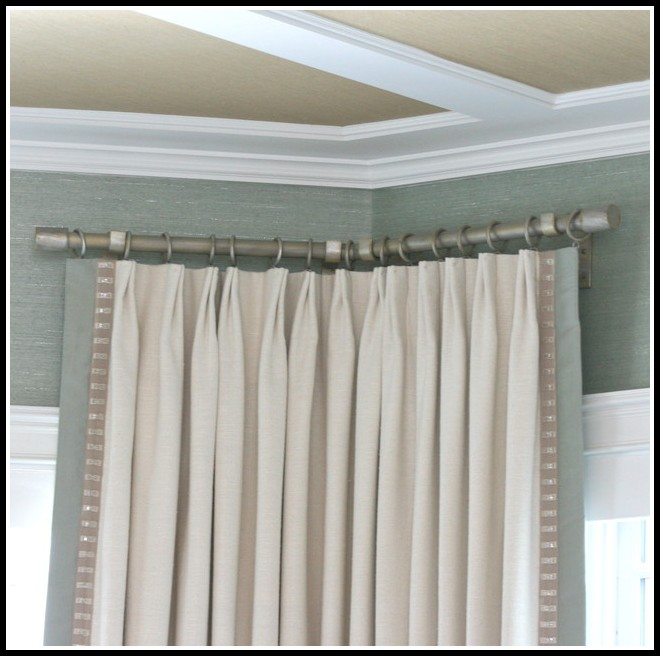 L Shaped Curtain Rod For Corner Window Curtains Home