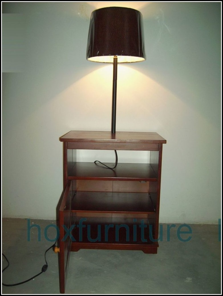 Oak End Table With Lamp Attached
