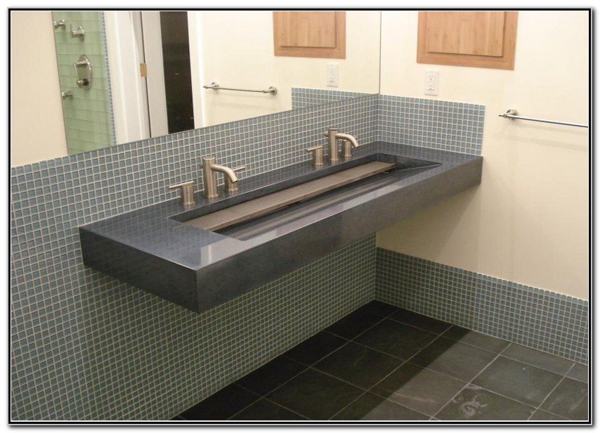 Brilliant Bathroom Trough Sink With 2 Faucets Sink And Faucets Download Free Architecture Designs Scobabritishbridgeorg