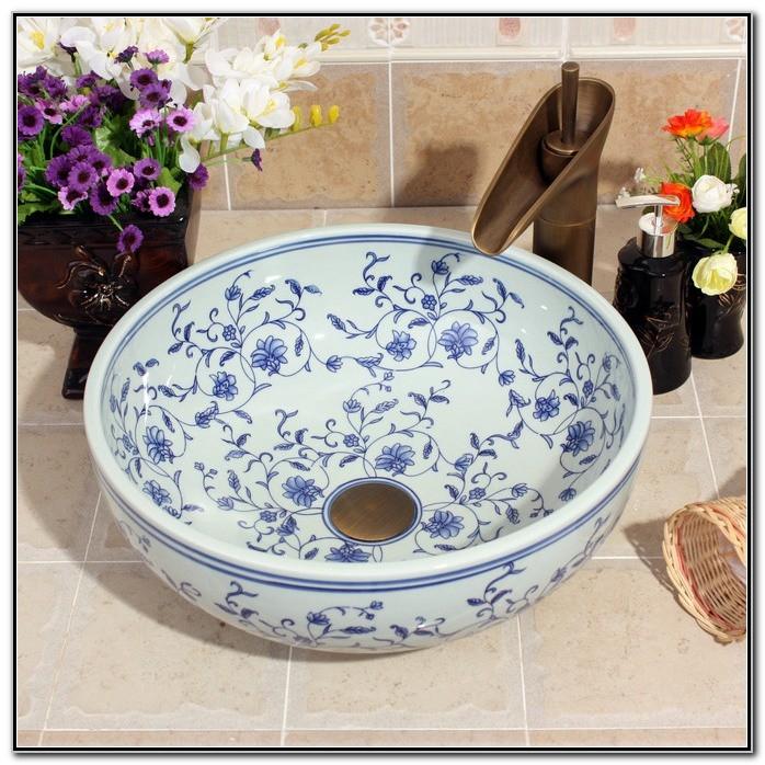 Blue White Porcelain Vessel Sink