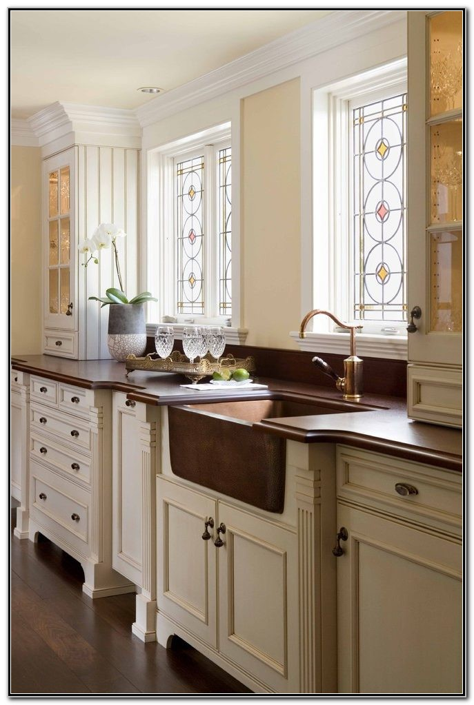 Copper Farmhouse Sink With White Cabinets Sink And Faucets Home