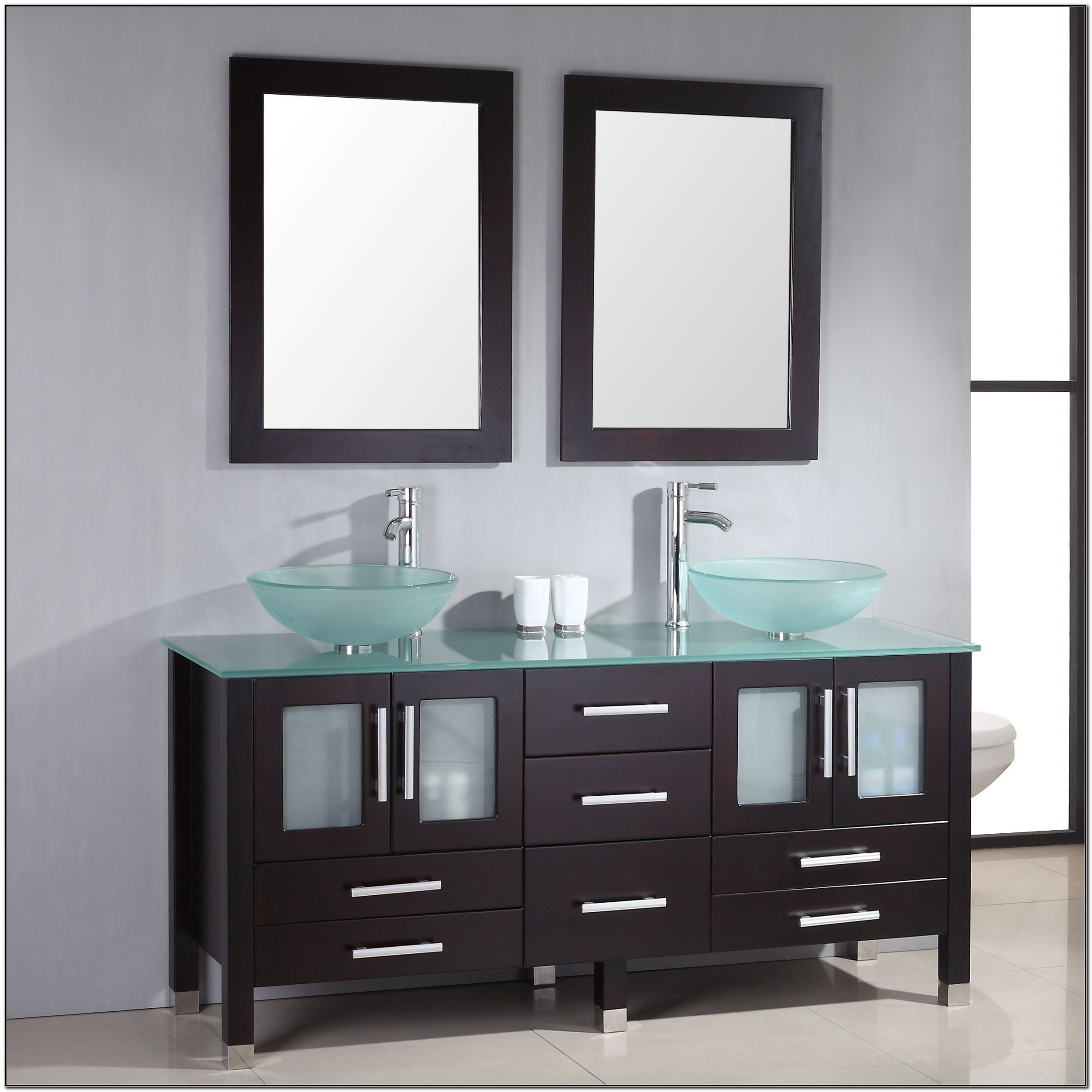 Glass Bowl Sink Vanity Cabinet Sink And Faucets Home Decorating