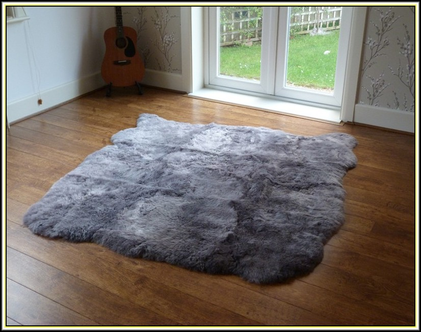 Large Grey Sheepskin Rug