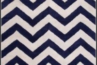 Navy Blue Chevron Rug
