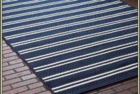 Navy Striped Area Rug