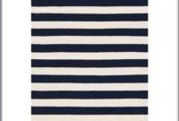 Navy Striped Rug 8x10