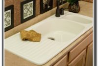 Porcelain Double Bowl Kitchen Sink With Drainboard