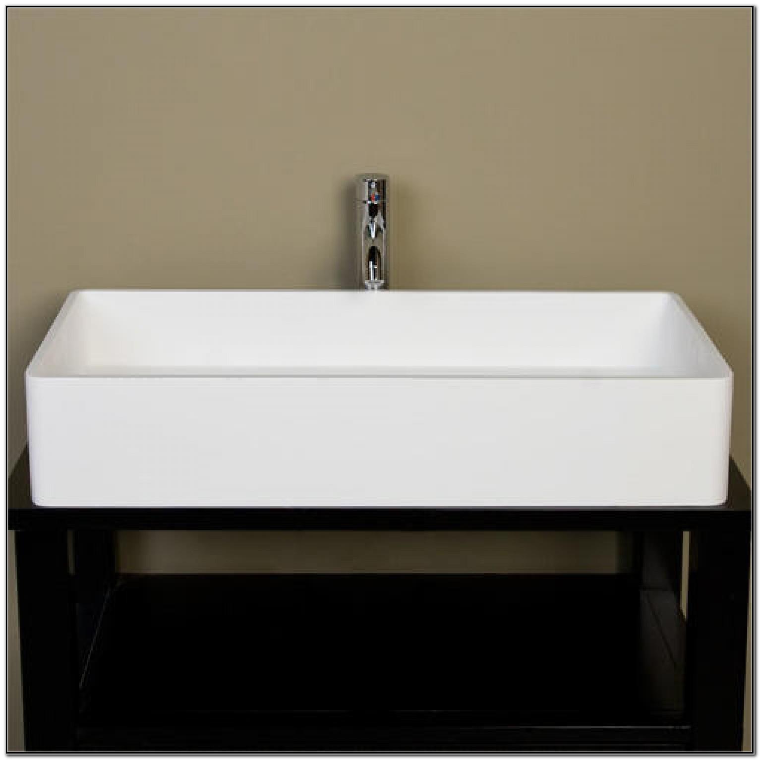 Small White Rectangular Vessel Sink