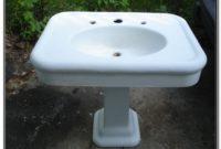 Vintage Porcelain Over Cast Iron Pedestal Sink