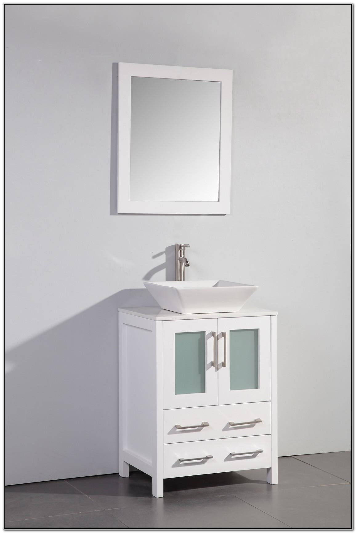 White Bathroom Vanity With Vessel Sink
