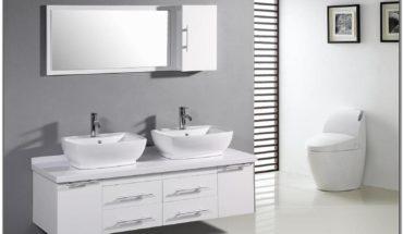 White Double Sink Bathroom Vanity Cabinets