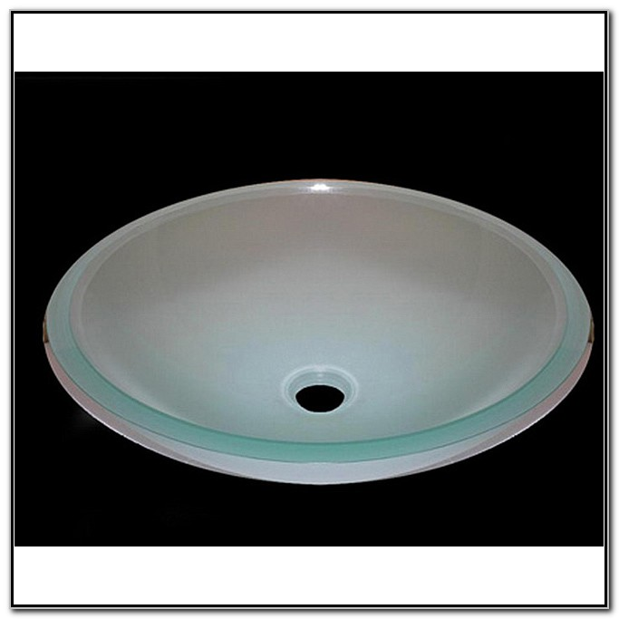 White Frosted Glass Vessel Sink