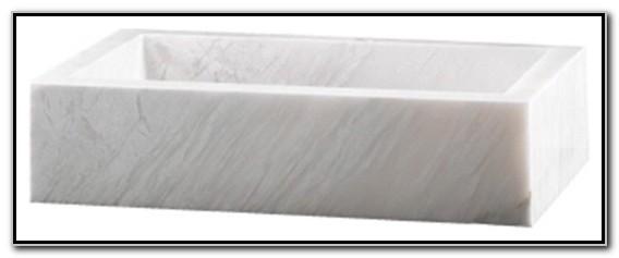 White Marble Rectangular Vessel Sink