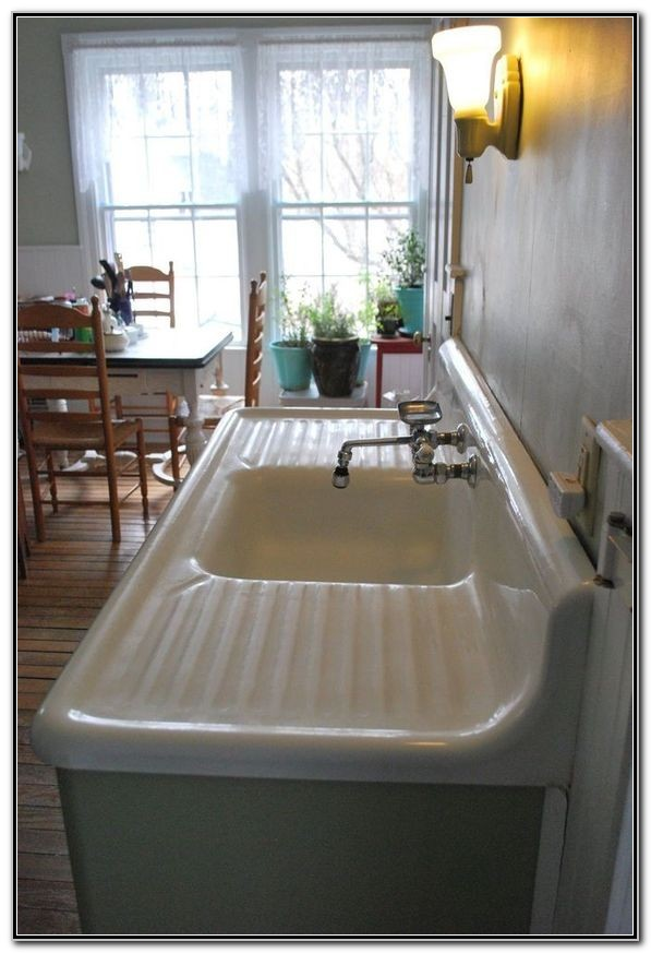 White Porcelain Kitchen Sink With Drainboard