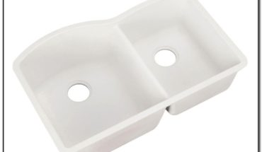 White Undermount Double Bowl Kitchen Sink