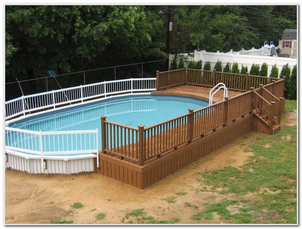 Above Ground Oval Swimming Pool Deck Designs Decks Home