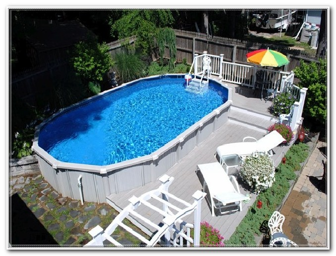 Above Ground Pool Deck Plans Oval Decks Home Decorating