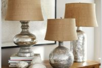 Antique Mercury Glass Table Lamp Bases
