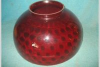 Antique Red Glass Lamp Shade
