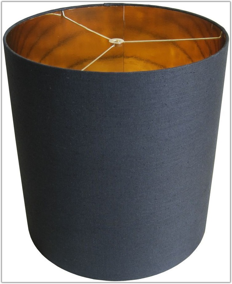 Black Linen Lamp Shade With Gold Lining