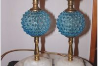 Blue Glass Base Table Lamps