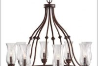 Bronze Chandelier With Lamp Shades