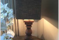 Chunky Dark Wood Lamp Table
