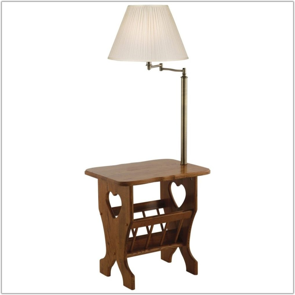 End Table With Lamp Attached