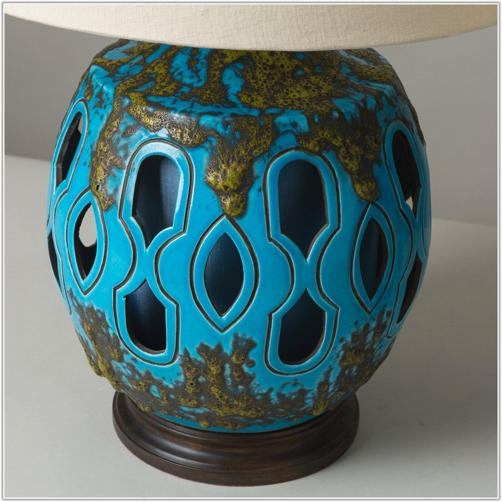 Large Turquoise Ceramic Table Lamps