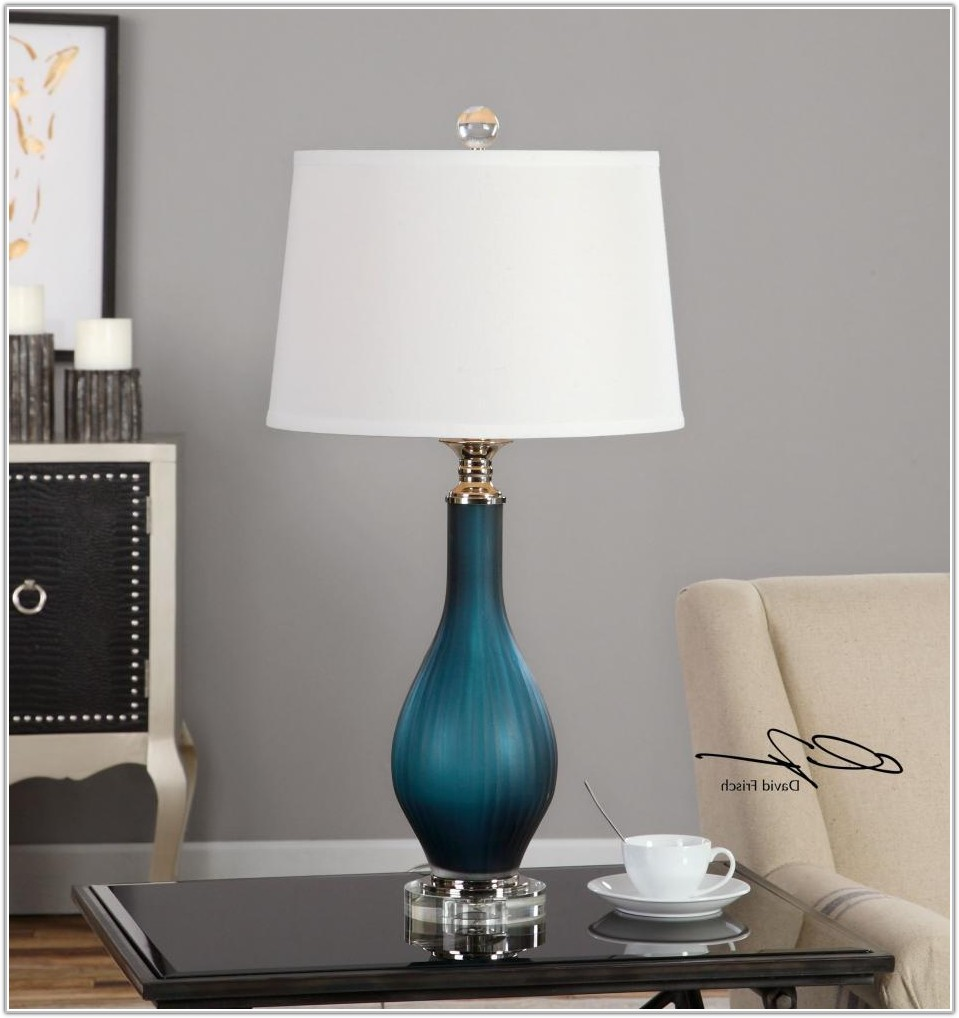 Light Blue Glass Table Lamp