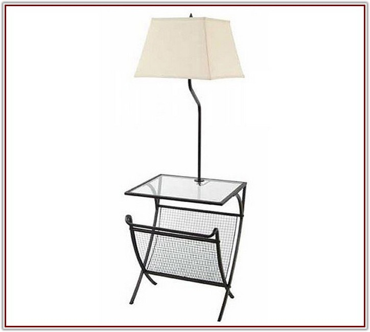 Magazine Rack Floor Lamp With Glass Table