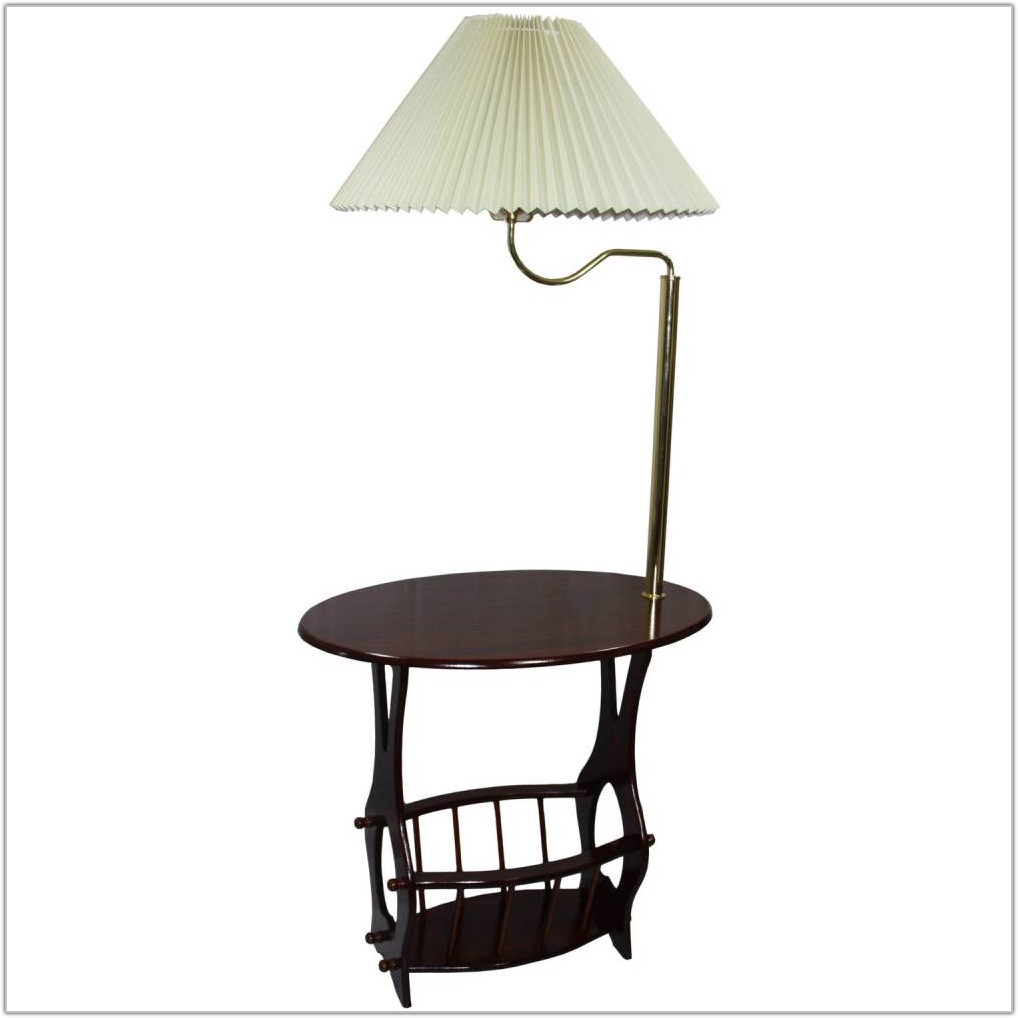 Magazine Table With Lamp Attached