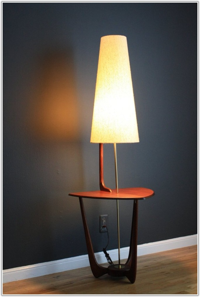 Mid Century Modern Floor Lamp With Table