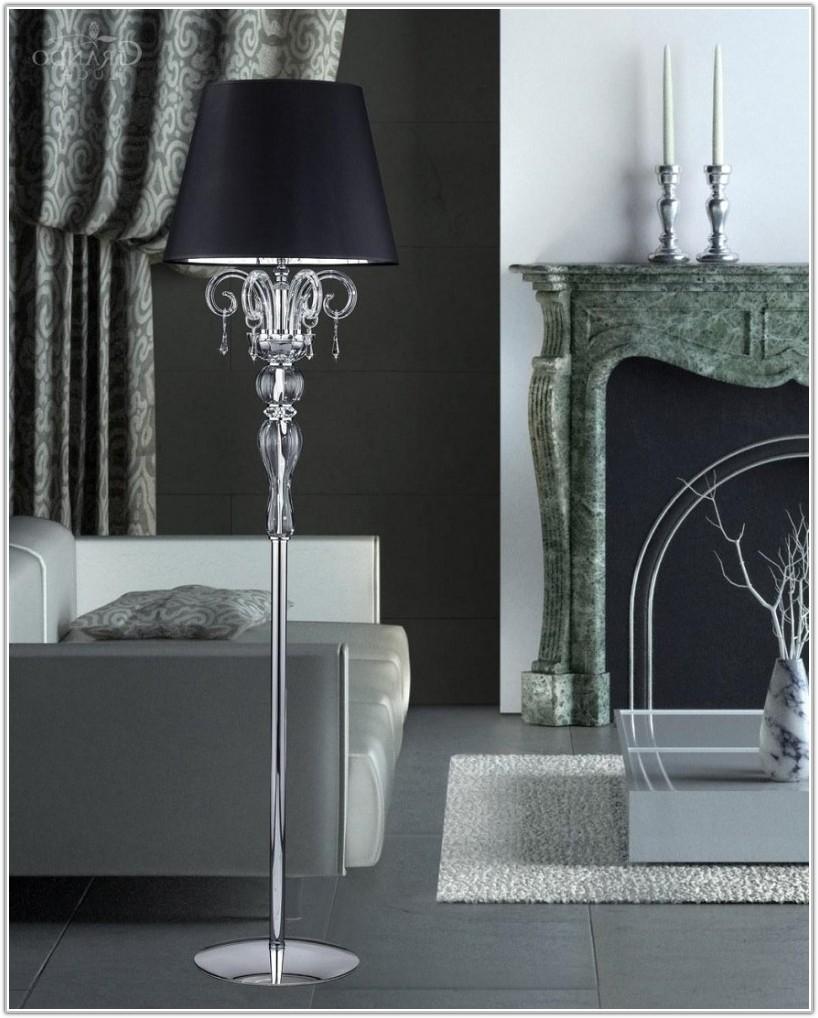 Modern Crystal Chandelier Floor Lamp Black