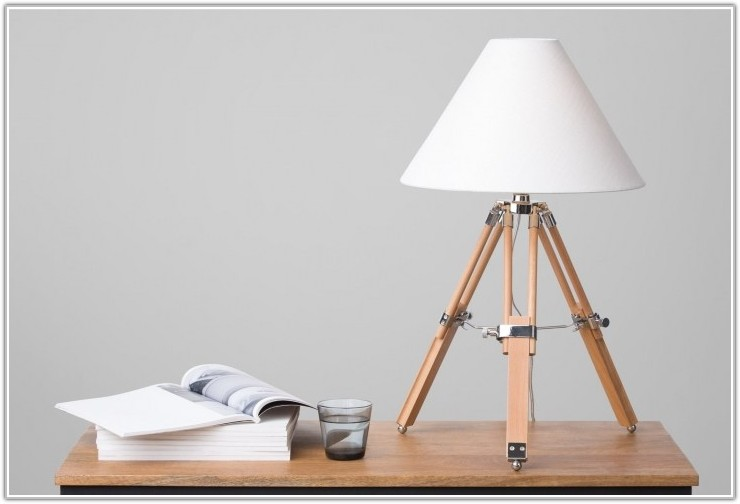 Natural Wood Tripod Table Lamp