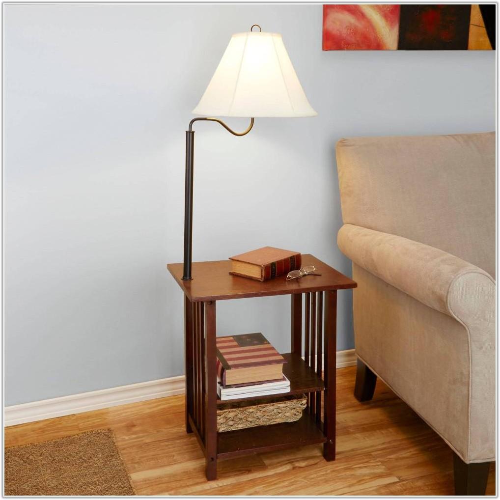 Oak Magazine Rack Floor Lamp