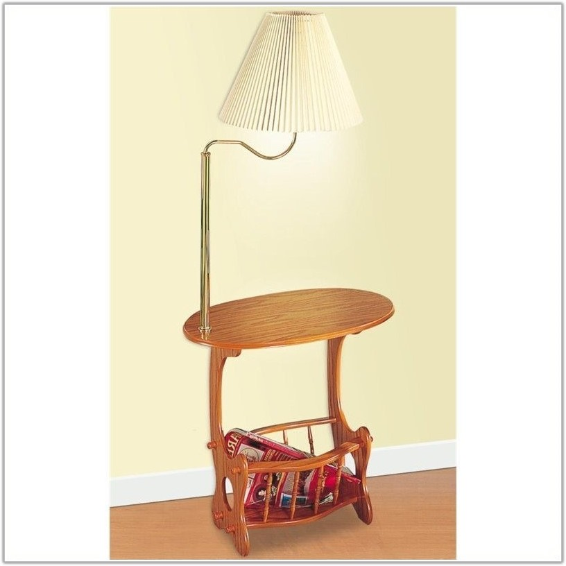Oak Magazine Table With Lamp