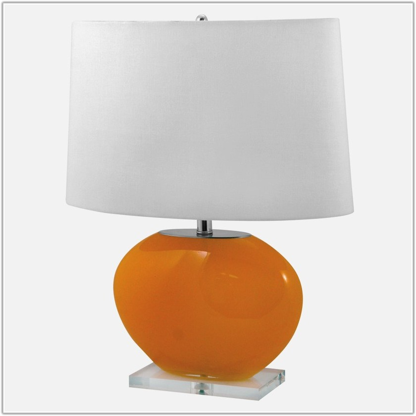 Orange Blown Glass Table Lamp