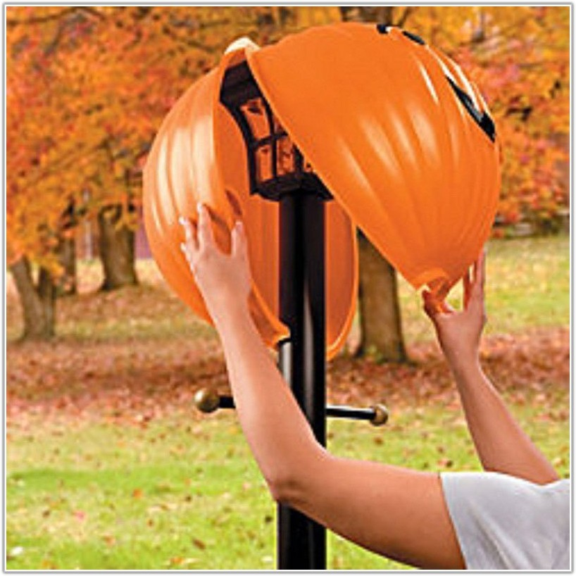 Outdoor Lamp Post Globe Pumpkin