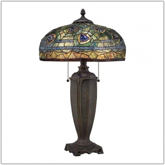 Peacock Table Lamp With Green Shade