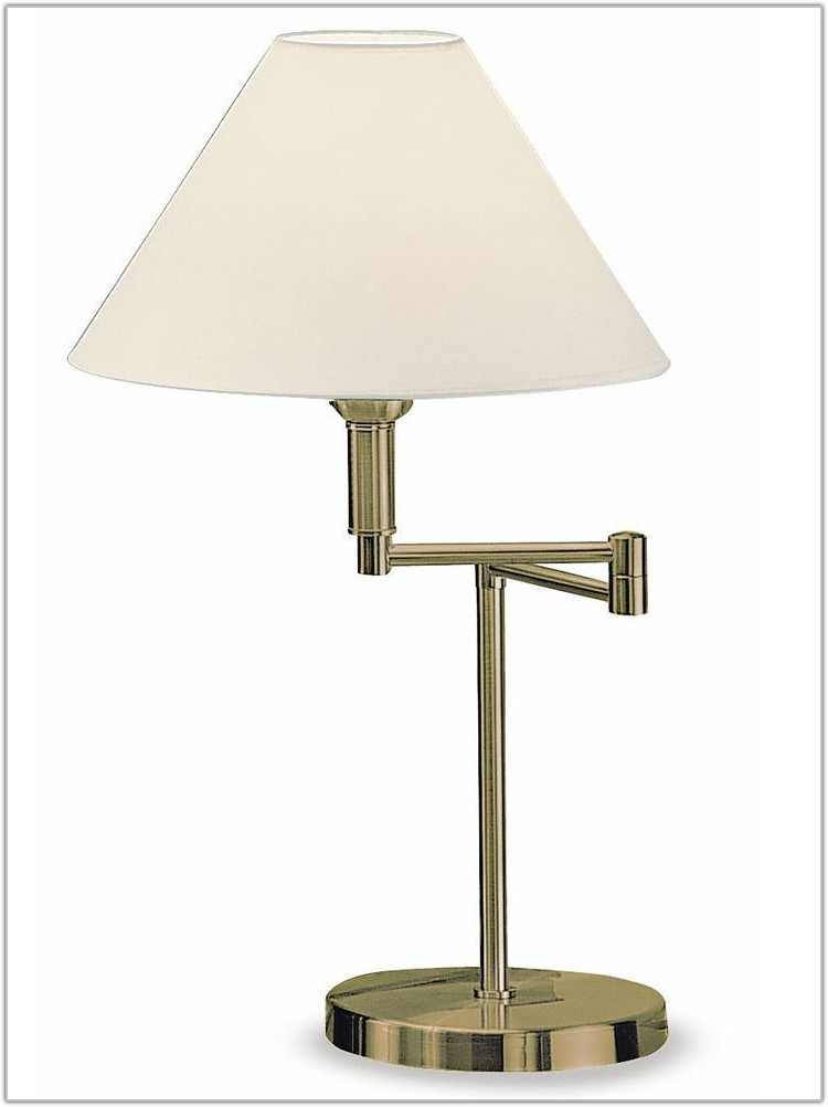 Polished Brass Swing Arm Table Lamp