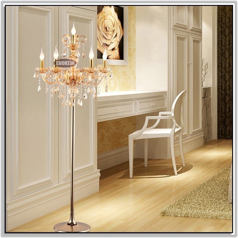 Pottery Barn Crystal Chandelier Floor Lamp