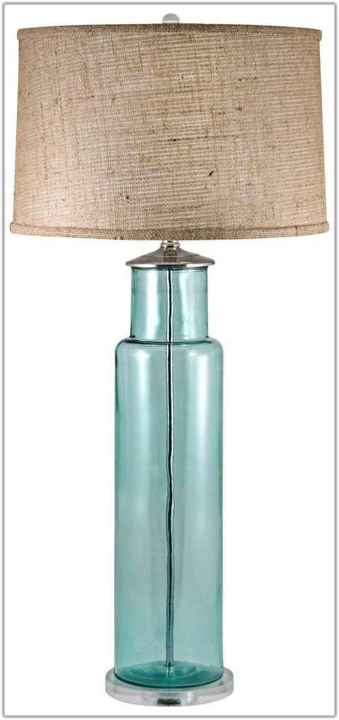 Recycled Aqua Glass Table Lamp