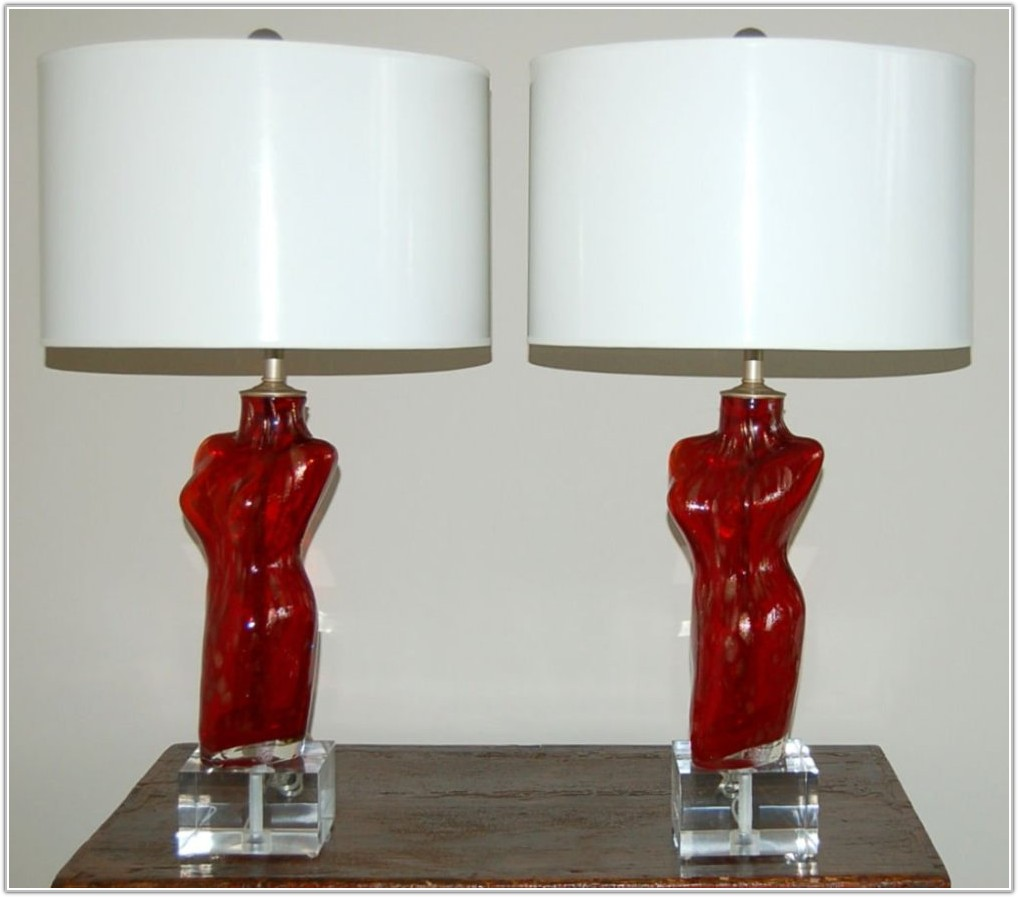 Red Art Glass Table Lamps