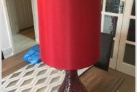 Red Crackle Glass Table Lamp